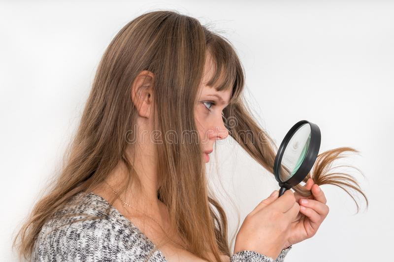 Hair problems - brittle, damaged, dry and loss hair concept royalty free stock image