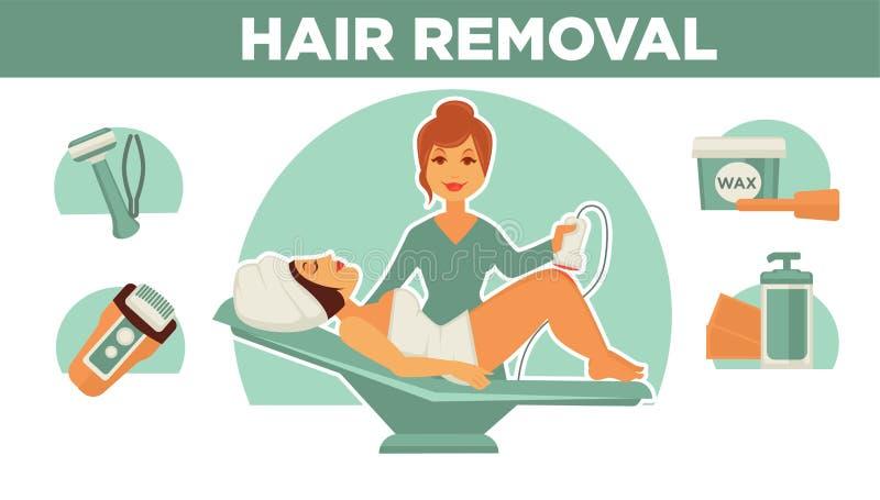 Shaving Legs Female Beauty Procedure Hair Removal Stock Vector