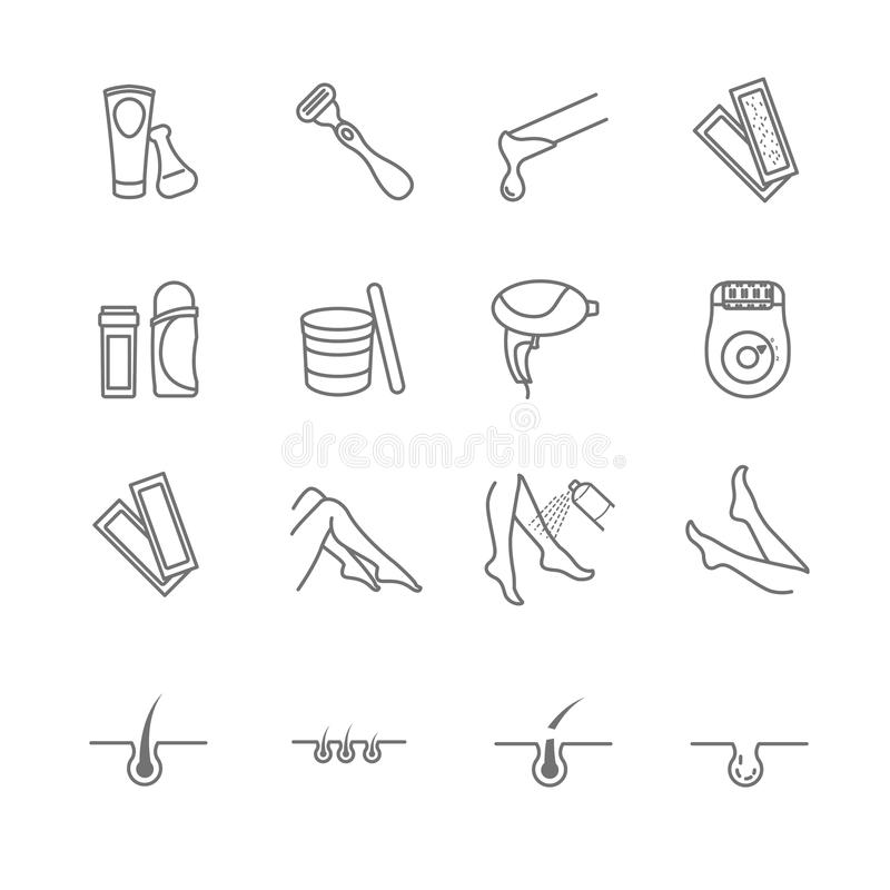 Hair removal tools icons set. For your design stock illustration