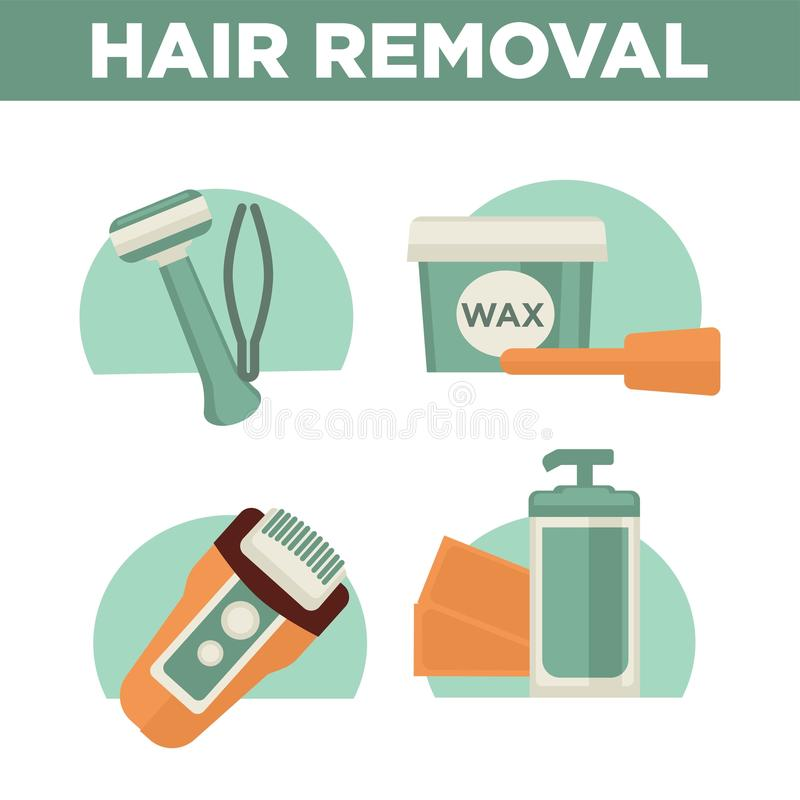 Hair Removal Woman Waxing  Shaving Sugaring Laser Depilation Vector Icons Set Stock Vector