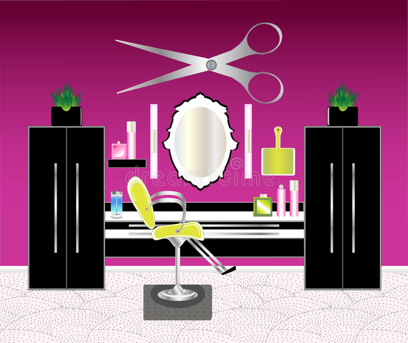 The Hair Salon. An upscale modern hair salon with cabinets, chair, mirror and accessories royalty free illustration