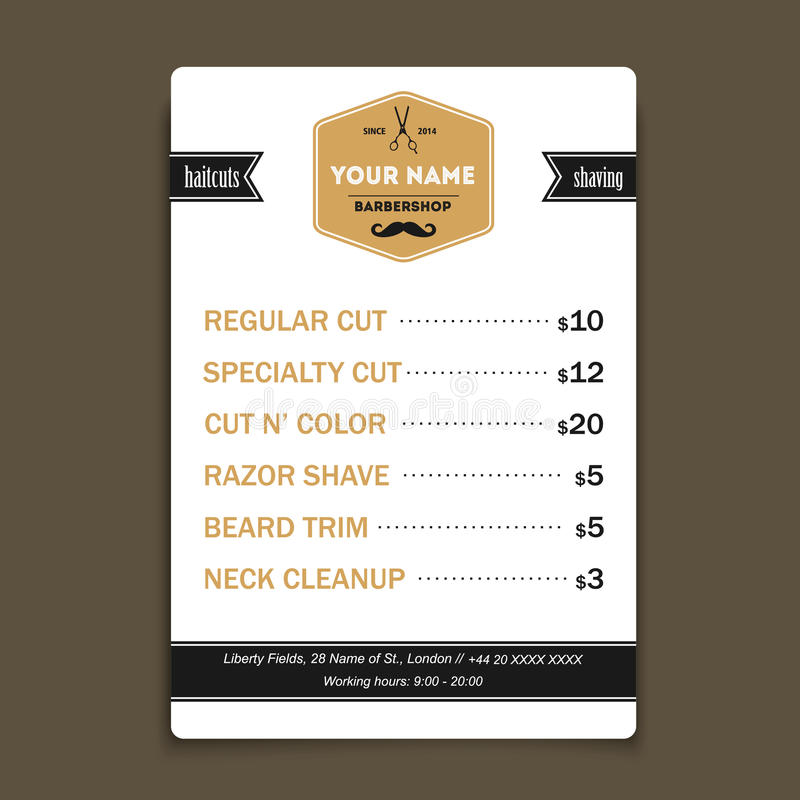 Hair salon barber shop services list design template stock vector barber shop business card design vector template services list template reheart Choice Image