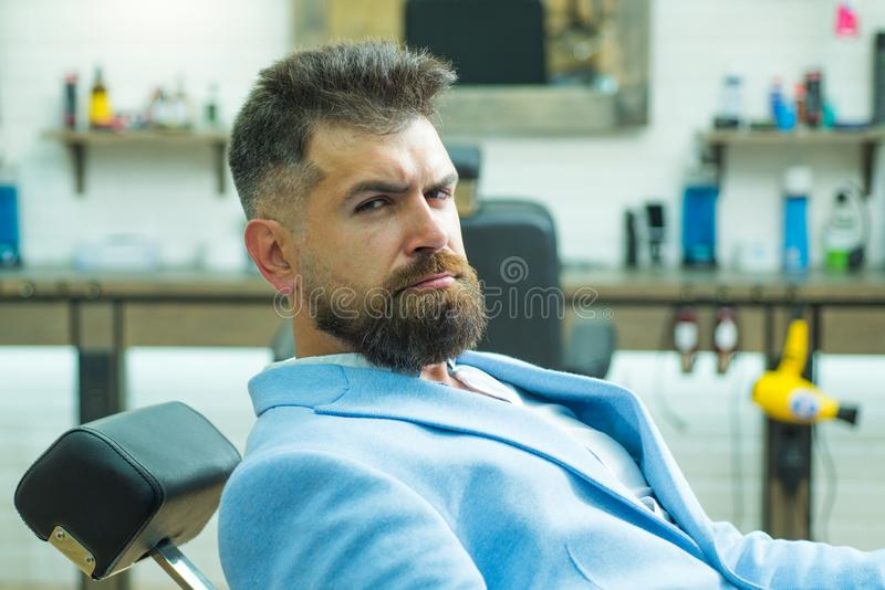 Hair salon and barber vintage. Beard styling cut. Portrait bearded man. Hair style and hair stylist. Beard man visiting. Hairstylist in barber shop. Sandalwood royalty free stock image