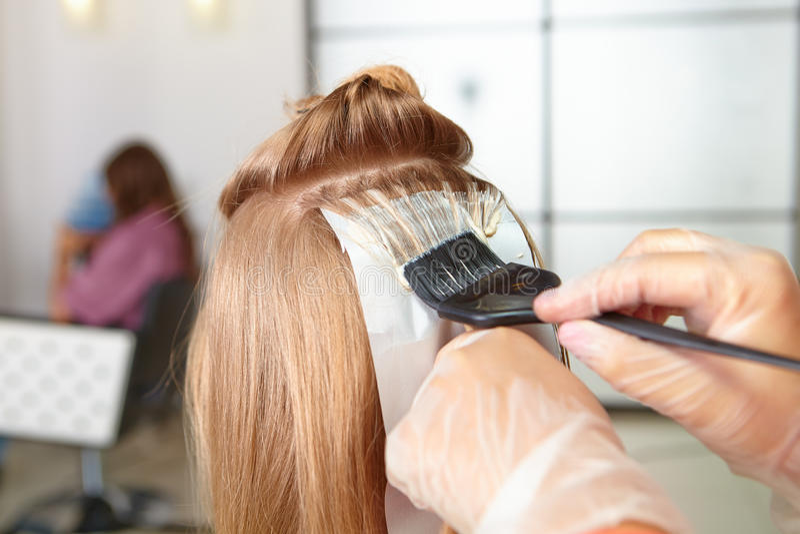 Hair salon. Coloring. stock photography
