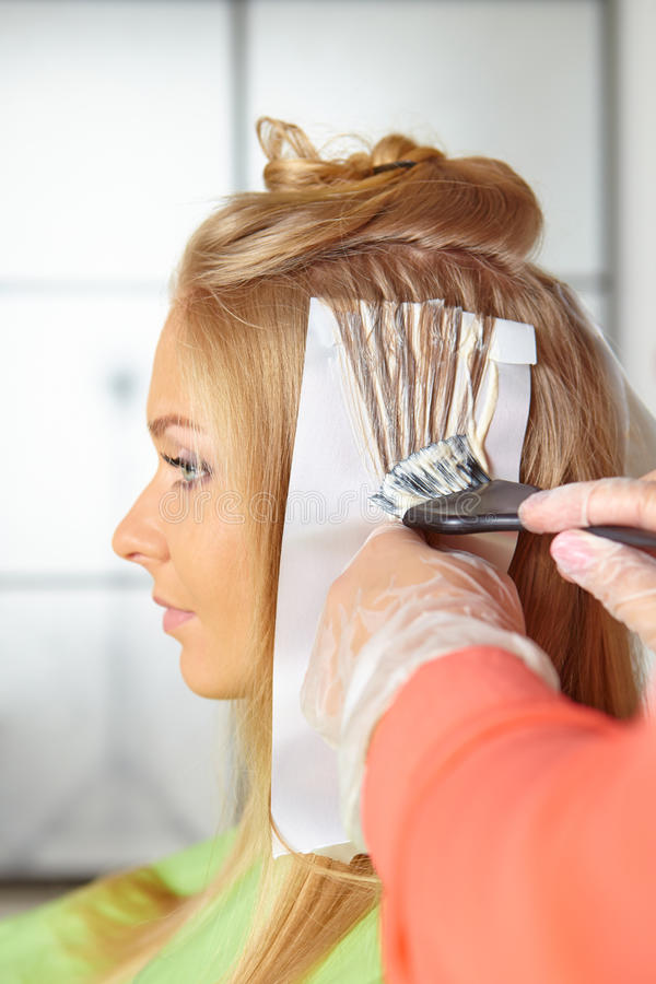Hair salon. Coloring. stock photography