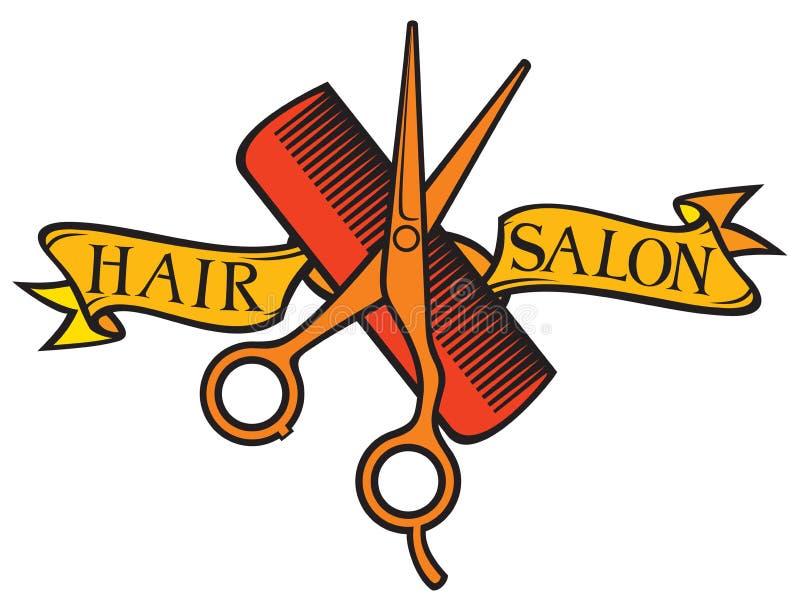 Hair Salon design. Haircut or hair salon symbol stock illustration