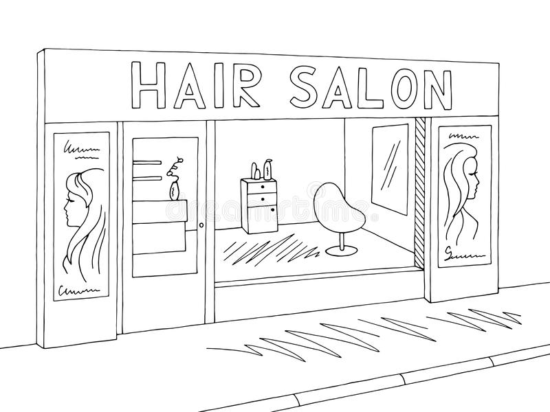 Hair salon exterior graphic black white sketch illustration vector. Hair salon exterior graphic black white sketch illustration royalty free illustration