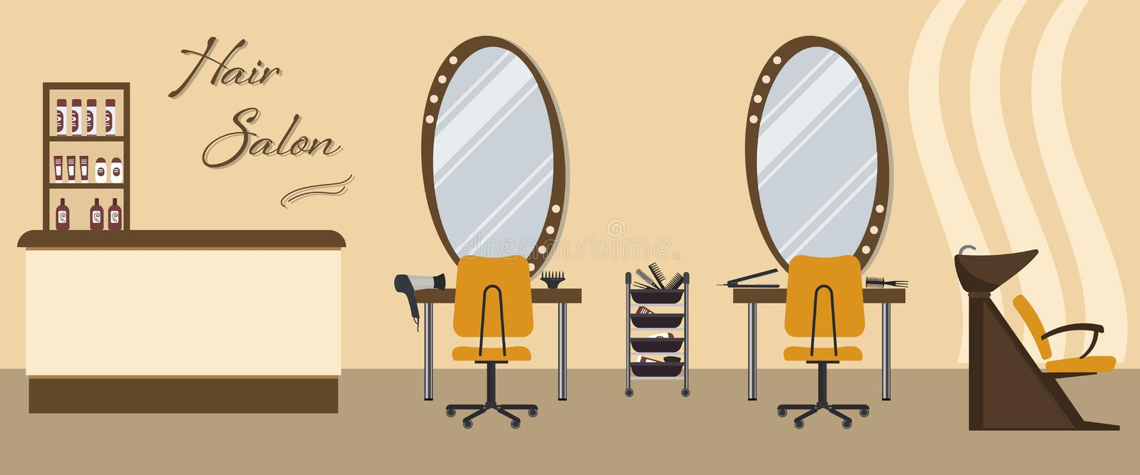 Hair salon interior in yellow color. Beauty salon. There are tables, chairs, a bath for washing the hair, mirrors, hair dryer, combs and shelves with vector illustration