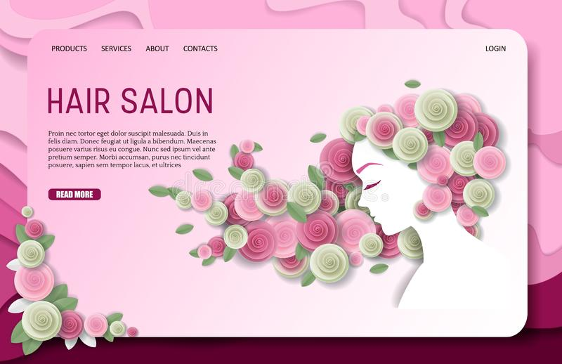 Vector paper cut hair salon landing page website template. Hair salon landing page website template. Vector paper cut beautiful girl with floral long wavy hair royalty free illustration