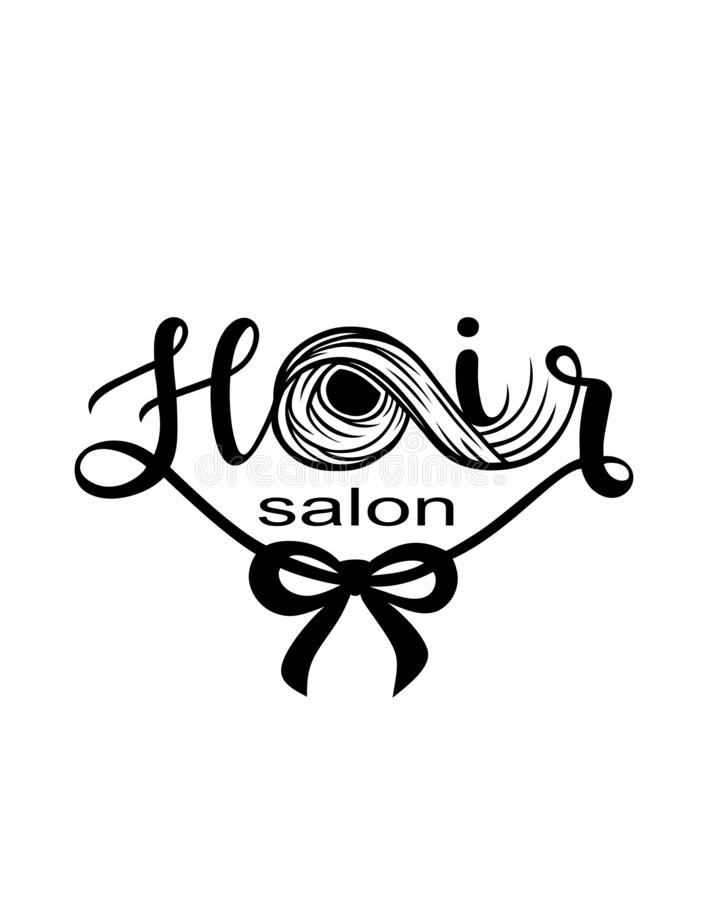 Hair salon logo banner.A lock of hair silhouette.Hair lettering. stock illustration