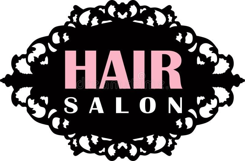 Hair Salon Logo. Beauty salon elegant modern logo in Baroque Gold Frame royalty free illustration
