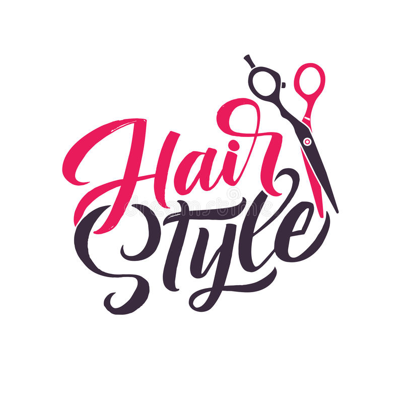 Hair Salon. Logo Beauty Vector Lettering. Custom handmade calligraphy. Vector Illustation stock illustration