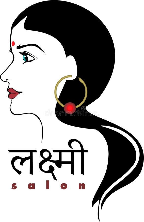 Hair salon modern logo Hindu Indian. Hair salon elegant modern logo best prices in town lakshmi vector illustration