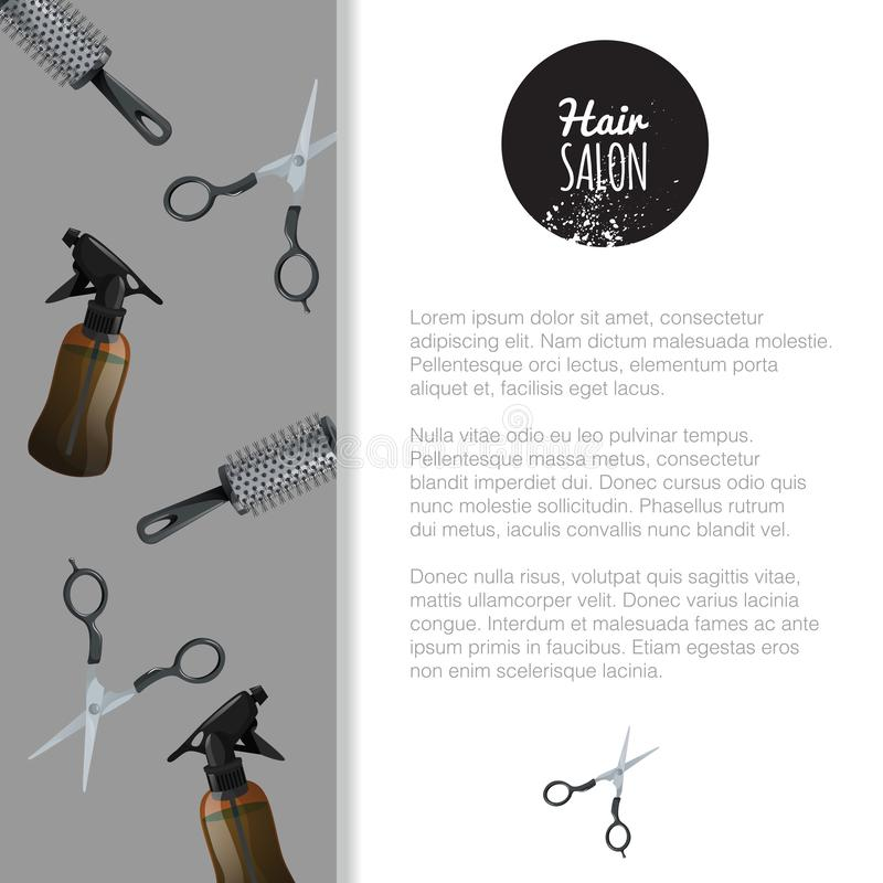 Hair salon poster template. Pattern with scissors, hair spray and cylinder metal hair comp. Banner for barber shop. Professional t. Ools. Vector illustration royalty free illustration