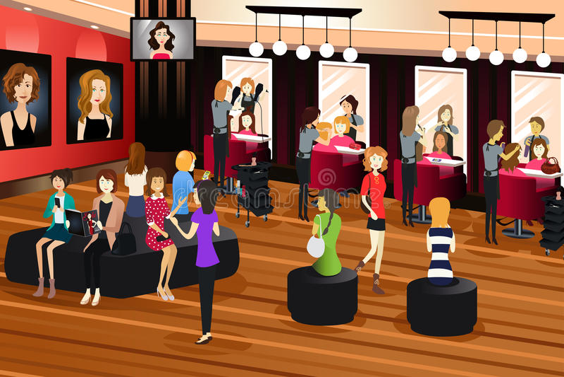 Hair Salon Scene. A vector illustration of hair salon scene stock illustration