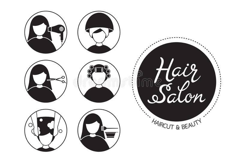 Hair Salon Sign And Icon Set Of Service Stock Vector
