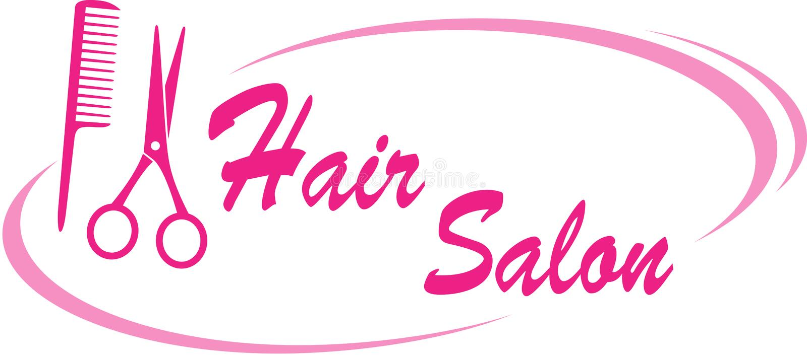 Hair salon sign. With pink scissors and hairdresser comb vector illustration