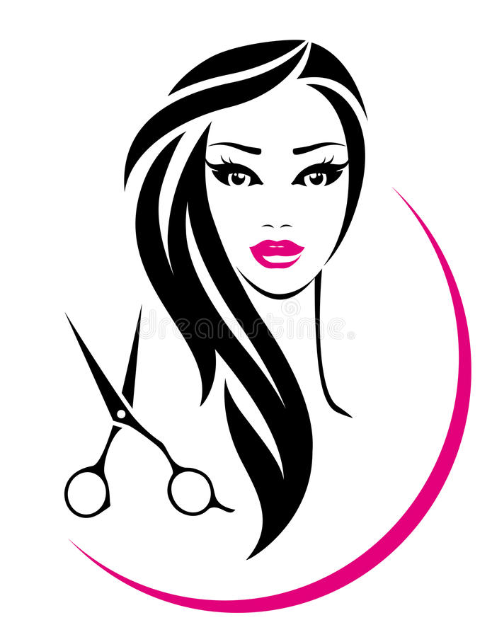 hair salon sign with pretty woman and scissors stock