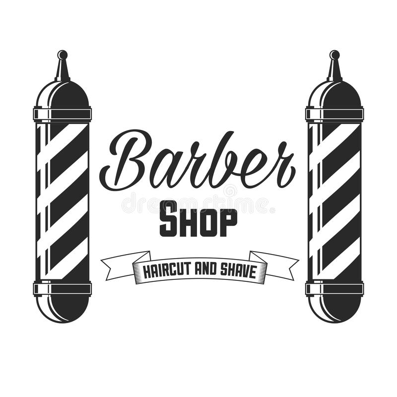 Hair salon vector labels in vintage style. Hair cut beauty and barber shop. Vintage logo on white background. royalty free illustration