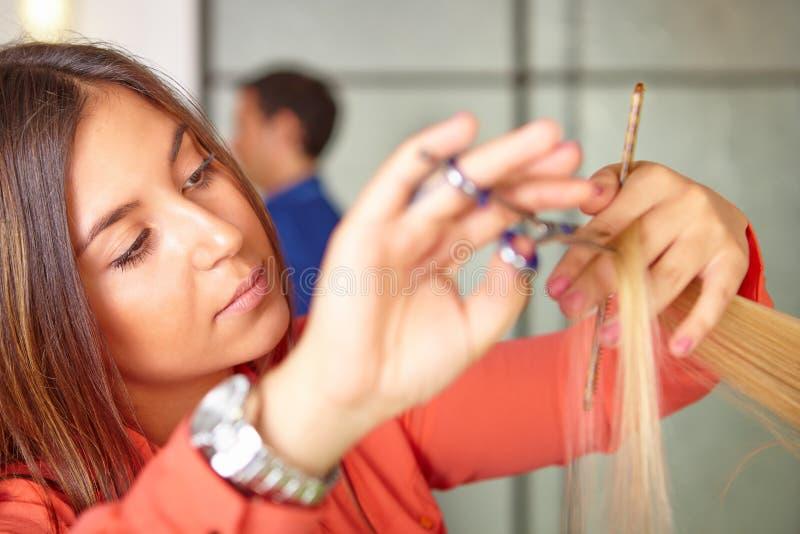 Hair salon. Women`s haircut. Cutting. Hair salon. Women`s haircut. Cutting royalty free stock photos