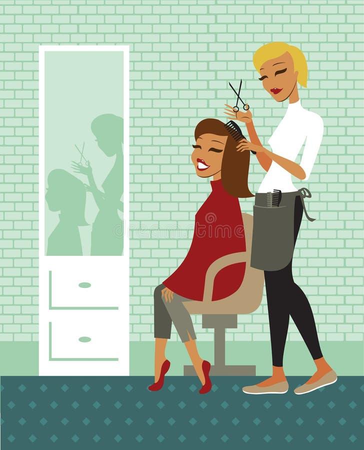 Hair salon. Young beautiful woman having her hair cut at the hairdresser salon vector illustration