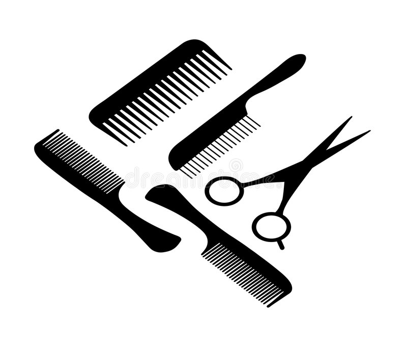 A hair scissors and four combs. stock illustration