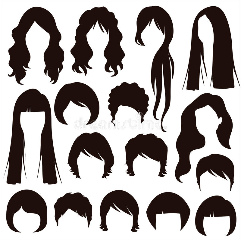 Hair silhouettes, woman hairstyle royalty free illustration