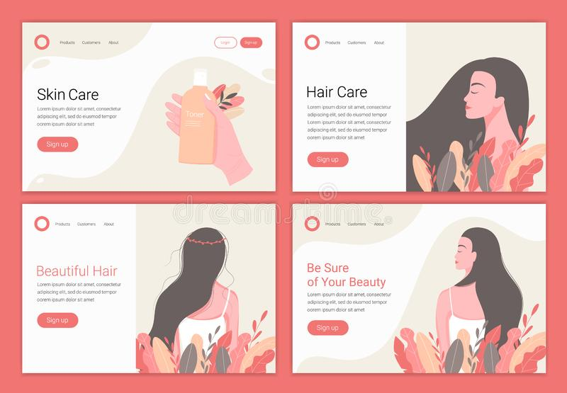 Hair, skin care concept. Beautiful woman with long hair. Landing page design template for beauty, spa, wellness, natural products, cosmetics, body care. Vector vector illustration