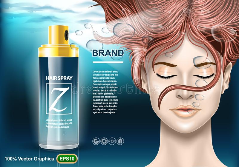 Hair Spray protection ads template, with girl under water with closed eyes. Realistic image mock up stock illustration