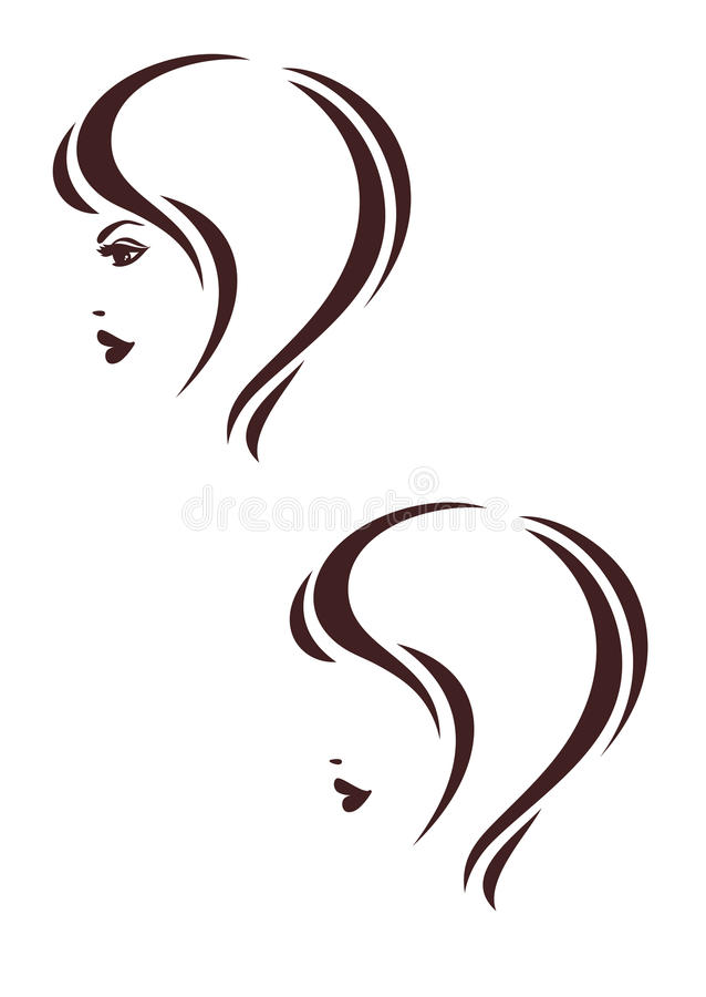 Hair stile icon, womans profile, haircut. Two versions vector illustration