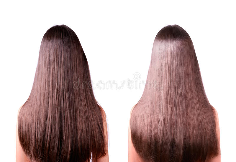 Hair straightening before and after royalty free stock images