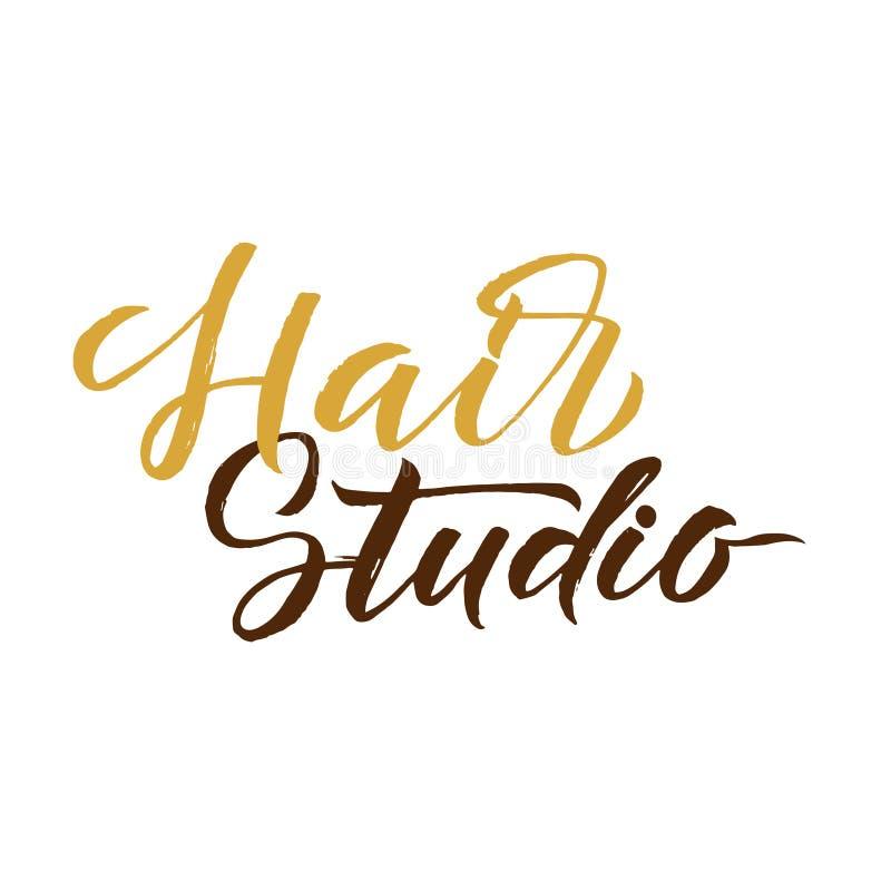 Hair Studio. Logo Beauty Vector Lettering. Custom handmade calligraphy. Vector Illustration vector illustration