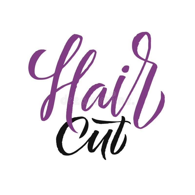 Hair Studio. Logo Beauty Vector Lettering. Custom handmade calligraphy. Vector Illustration royalty free illustration