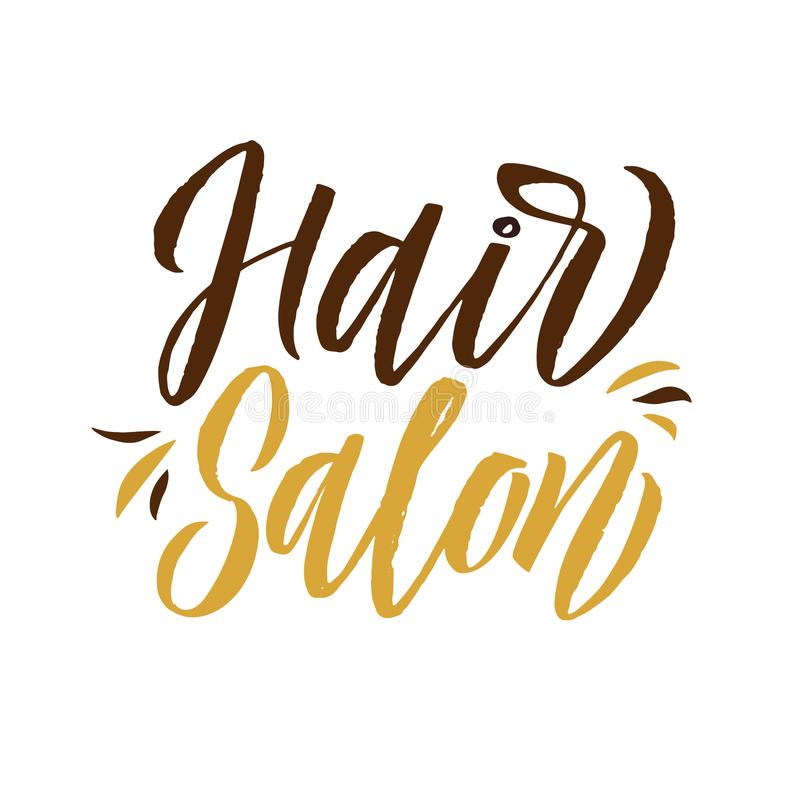 Hair Studio. Logo Beauty Vector Lettering. Custom handmade calligraphy. Vector Illustration stock illustration