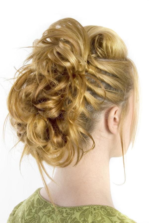 Hair Style. Rear view of hair style shot over white royalty free stock photo
