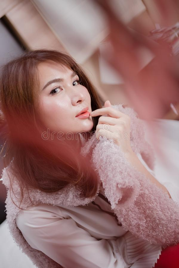 Hair style,asia women. Vintage style color tone stock image