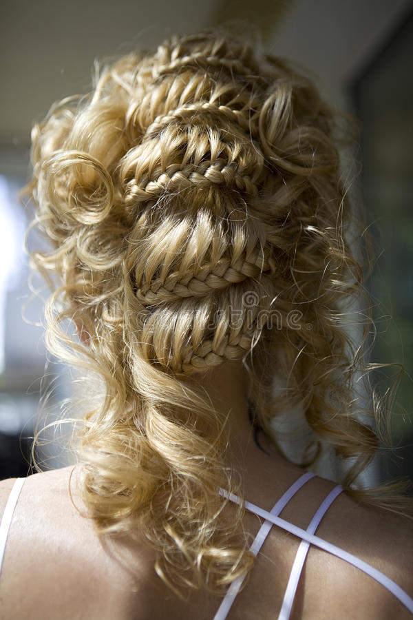 Hair style of bride. Hair style of blond bride stock photos