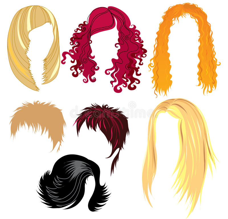 Hair style samples vector illustration