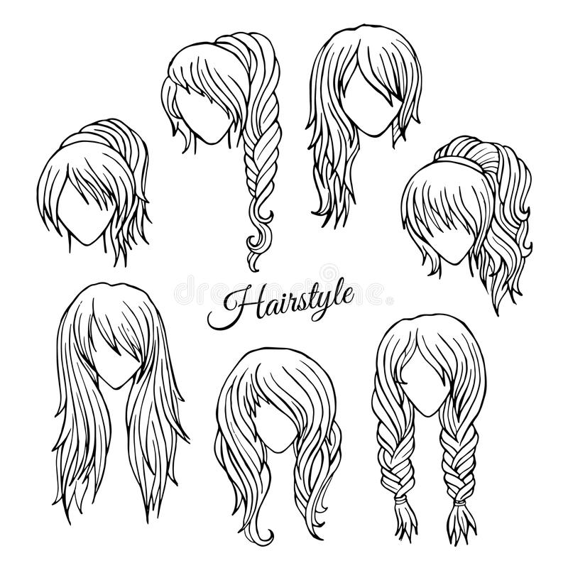 Hair styles sketch vector set stock vector illustration for Modern drawing styles