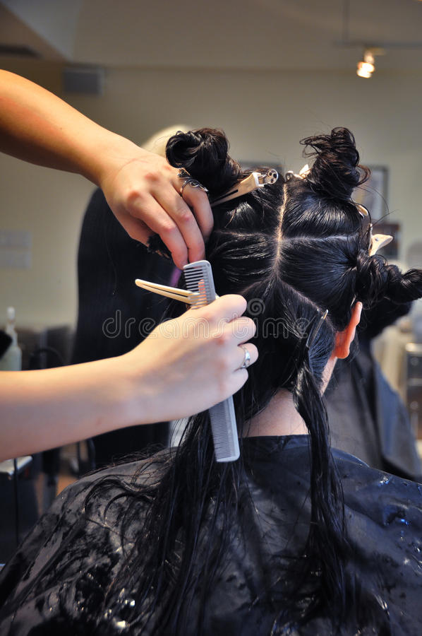 Hair Styling. In a salon stock photography