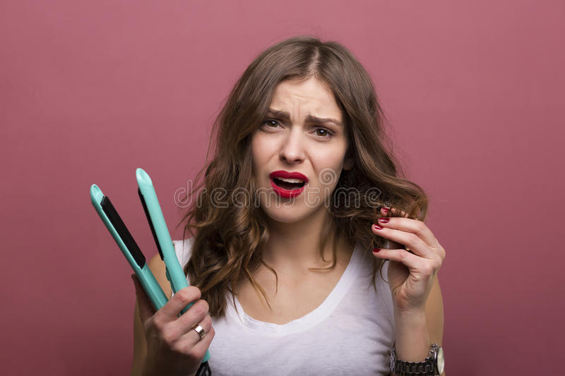 Hair styling stock photo