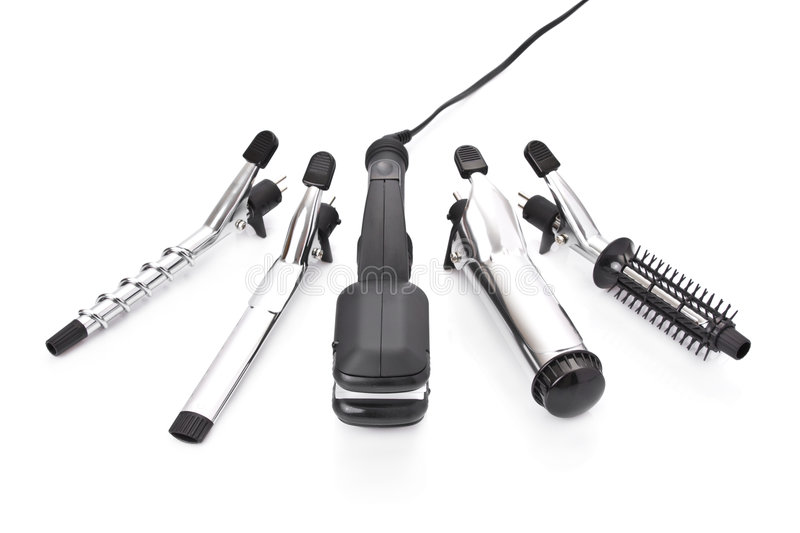 Hair styling set with straightener