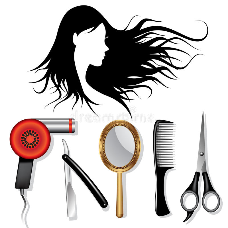 Hair styling tools stock vector illustration of icon for Hair salon tools