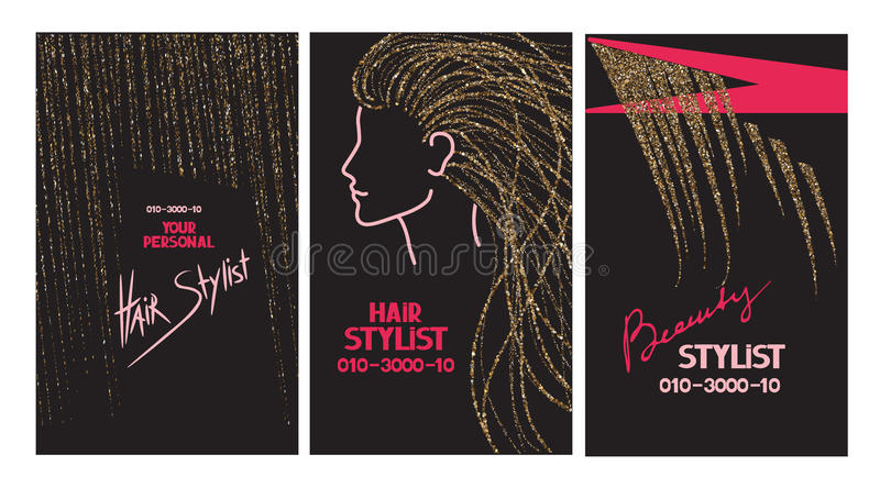 Hair stylist business cards with abstract gold hair and scissors vector illustration