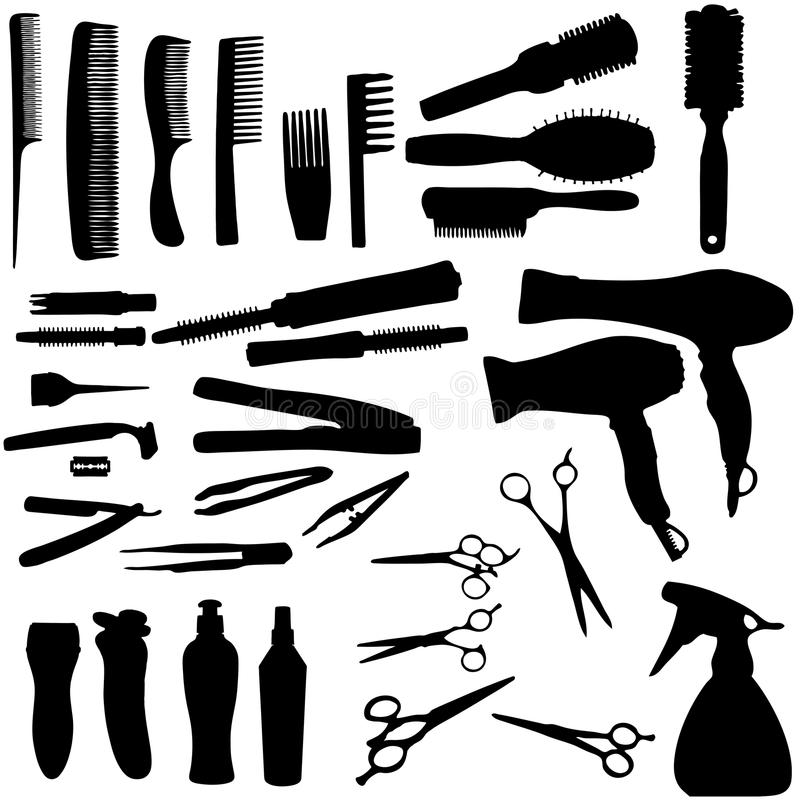 Hair Tools & Accessories Silhouette Stock Image