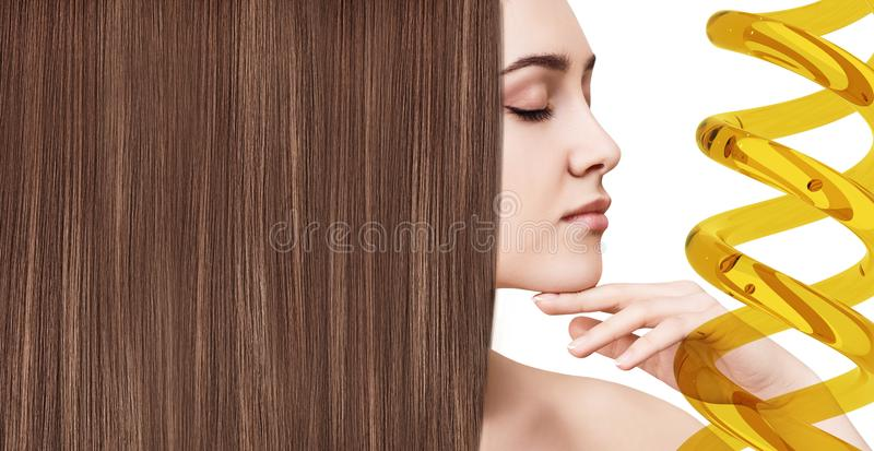 Hair treatment by oil therapy in spiral. royalty free stock photography