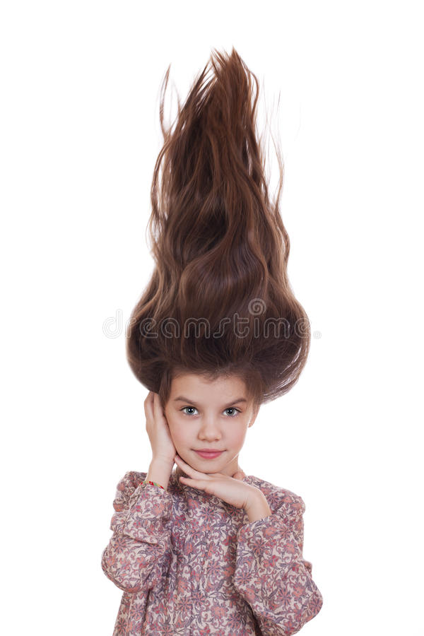 Hair Up, Portrait of beautiful little girl stock images