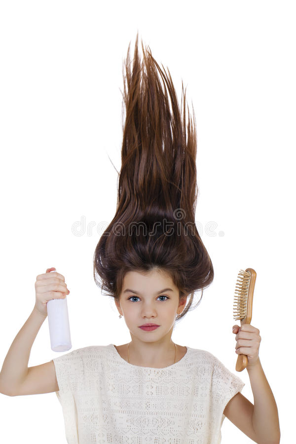 Hair Up, Portrait of beautiful little girl royalty free stock photography