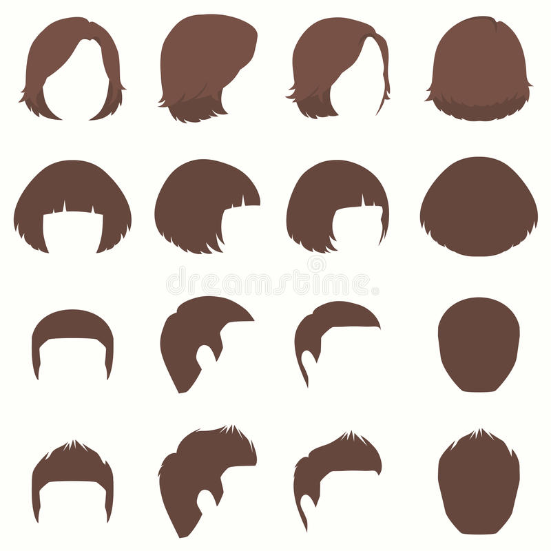 hair, vector hairstyle silhouette, front back and side view royalty free illustration