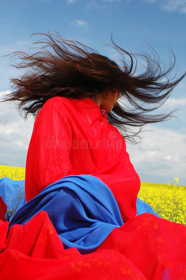 Hair in the wind 2 stock image